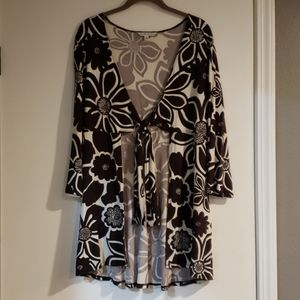 Cabi large print floral cardigan with tie